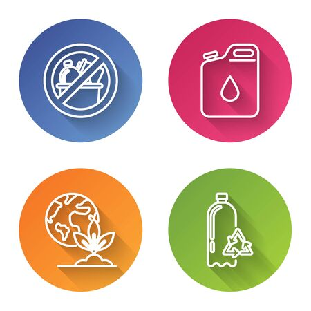 Set line No trash, Canister for gasoline, Earth globe and plant and Recycling plastic bottle. Color circle button. Vector Ilustrace