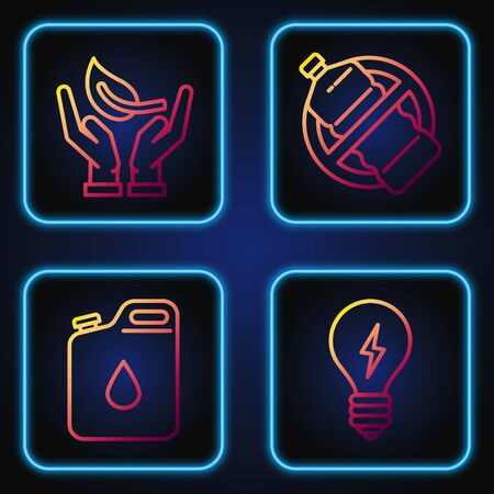 Set line Light bulb with lightning symbol, Canister for gasoline, Sprout in hand of environmental protection and No plastic bottle. Gradient color icons. Vector Ilustrace