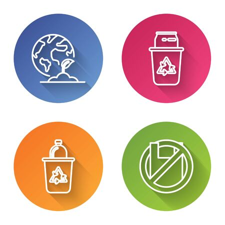 Set line Earth globe and plant, Recycle bin with recycle symbol and can, Recycle bin with recycle symbol and Say no to plastic bags poster. Color circle button. Vector