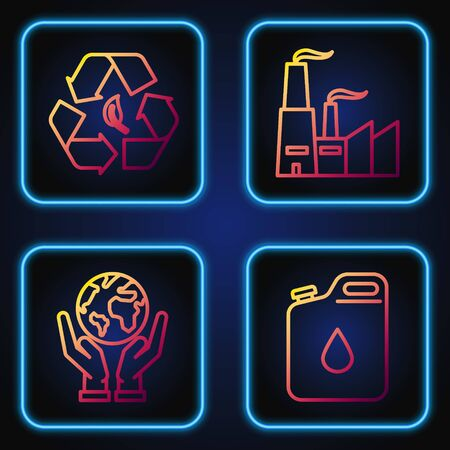 Set line Canister for gasoline, Human hands holding Earth globe, Recycle symbol and leaf and Factory. Gradient color icons. Vector Reklamní fotografie - 137032744