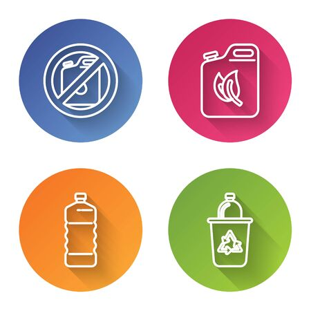 Set line No canister for gasoline, Bio fuel canister, Plastic bottle and Recycle bin with recycle symbol. Color circle button. Vector