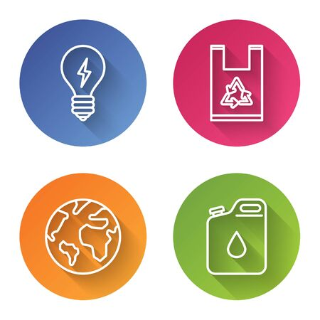 Set line Light bulb with lightning symbol, Plastic bag with recycle, Earth globe and Canister for gasoline. Color circle button. Vector Ilustrace