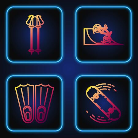 Set line Skateboard trick, Rubber flippers for swimming, Ski poles and Bicycle on street ramp. Gradient color icons. Vector