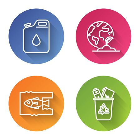 Set line Canister for gasoline, Earth globe and plant, Stop ocean plastic pollution and Recycle bin with recycle symbol. Color circle button. Vector Ilustrace