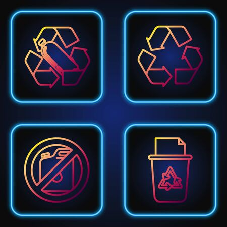 Set line Recycle bin with recycle symbol, No canister for gasoline, Recycling plastic bottle and Recycle symbol. Gradient color icons. Vector Reklamní fotografie - 137033914