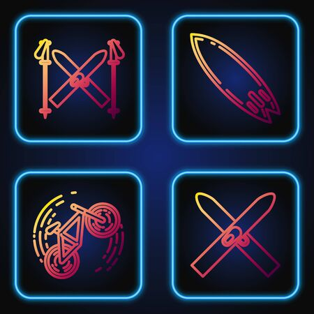 Set line Ski and sticks, Bicycle trick, Ski and sticks and Surfboard. Gradient color icons. Vector