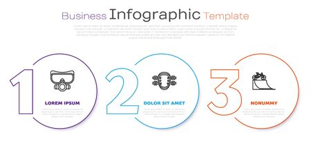 Set line Diving mask, Knee pads and Bicycle on street ramp. Business infographic template. Vector