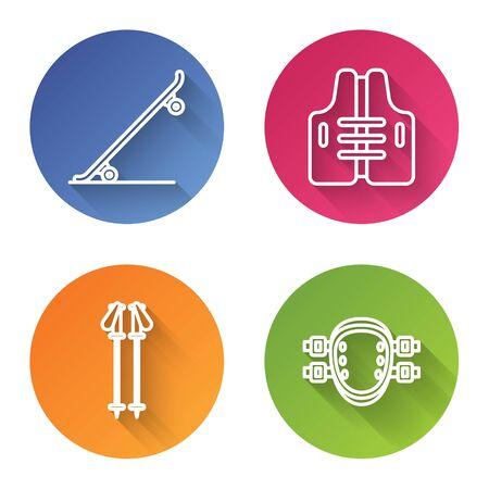 Set line Skateboard, Life jacket, Ski poles and Knee pads. Color circle button. Vector