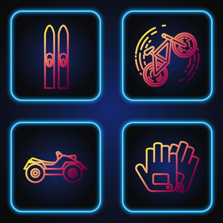 Set line Gloves, All Terrain Vehicle or ATV motorcycle, Ski and sticks and Bicycle trick. Gradient color icons. Vector