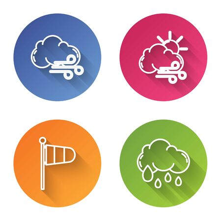 Set line Windy weather, Windy weather, Cone meteorology windsock wind vane and Cloud with rain. Color circle button. Vector