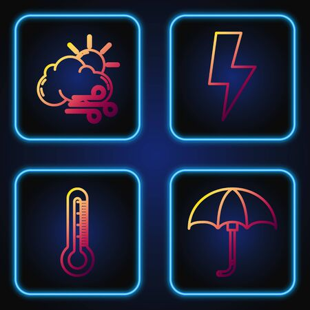 Set line Classic elegant opened umbrella, Thermometer, Windy weather and Lightning bolt. Gradient color icons. Vector