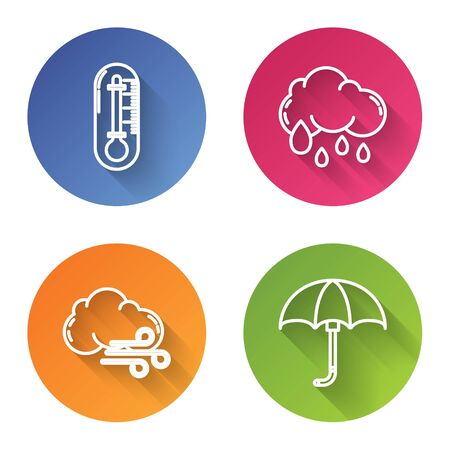 Set line Thermometer, Cloud with rain, Windy weather and Classic elegant opened umbrella. Color circle button. Vector