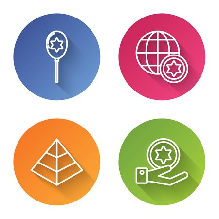 Set line Balloons with ribbon with star of david, World Globe and Israel, Egypt pyramids and Jewish coin on hand. Color circle button. Vector Vectores