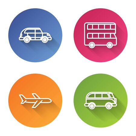 Set line Hatchback car, Double decker bus, Plane and Retro minivan. Color circle button. Vector