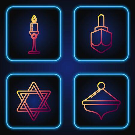 Set line Hanukkah dreidel, Star of David, Burning candle in candlestick and Hanukkah dreidel. Gradient color icons. Vector