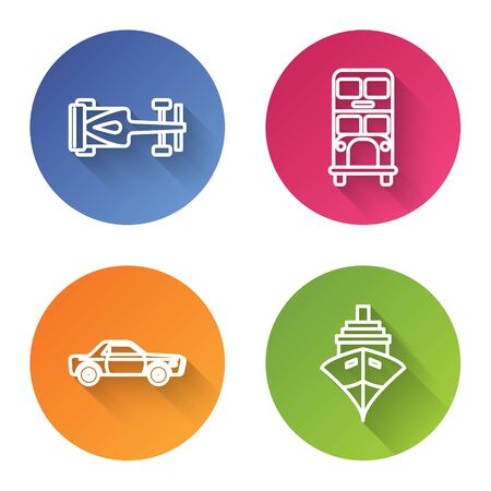 Set line Formula race car, Double decker bus, Sedan car and Cargo ship. Color circle button. Vector