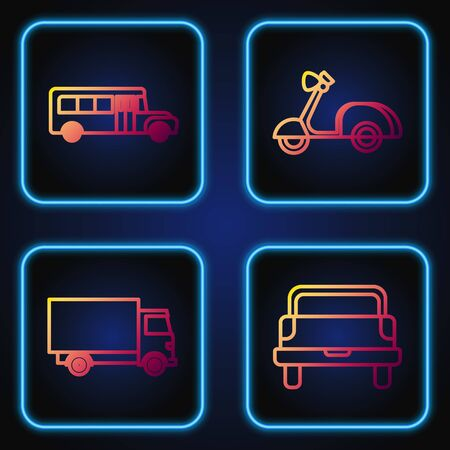 Set line Pickup truck, Delivery cargo truck vehicle, School Bus and Scooter. Gradient color icons. Vector