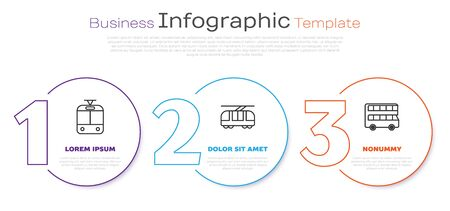 Set line Tram and railway, Tram and railway and Double decker bus. Business infographic template. Vector Stock Illustratie