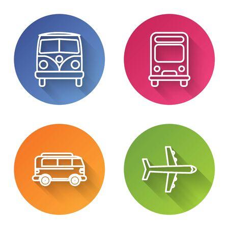 Set line Retro minivan, Bus, Retro minivan and Plane. Color circle button. Vector