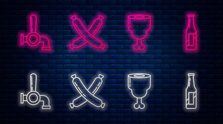 Set line Crossed sausage, Chicken leg, Beer tap and Beer bottle. Glowing neon icon on brick wall. Vector