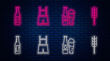 Set line Lederhosen, Beer bottle and glass, Beer bottle and Cereals set with rice, wheat, corn, oats, rye, barley. Glowing neon icon on brick wall. Vector Illustration