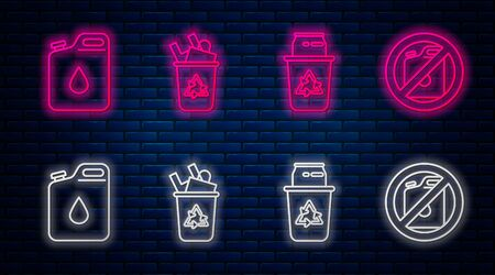 Set line Recycle bin with recycle symbol, Recycle bin with recycle symbol and can, Canister for gasoline and No canister for gasoline. Glowing neon icon on brick wall. Vector
