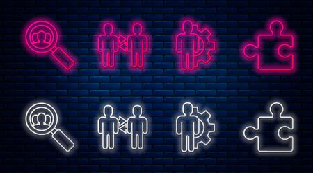 Set line Project team base, Human with gear inside, Magnifying glass for search a people and Piece of puzzle. Glowing neon icon on brick wall. Vector