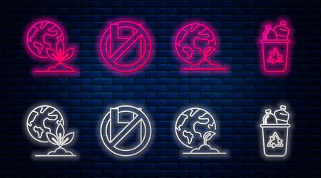 Set line Say no to plastic bags poster, Earth globe and plant, Earth globe and plant and Recycle bin with recycle symbol. Glowing neon icon on brick wall. Vector