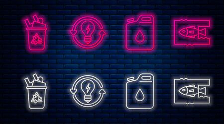 Set line Recycle and light bulb with lightning symbol, Canister for gasoline, Recycle bin with recycle symbol and Stop ocean plastic pollution. Glowing neon icon on brick wall. Vector