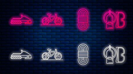 Set line Bicycle, Climber rope, Snowmobile and Diving mask and aqualung. Glowing neon icon on brick wall. Vector