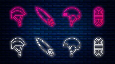 Set line Surfboard, Helmet, Bicycle helmet and Climber rope. Glowing neon icon on brick wall. Vector