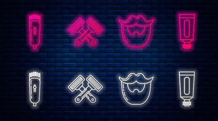 Set line Crossed shaving razor, Mustache and beard, Electrical hair clipper or shaver and Cream or lotion cosmetic tube. Glowing neon icon on brick wall. Vector
