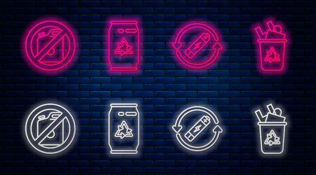 Set line Can with recycle symbol and can, Battery with recycle symbol line, No canister for gasoline and Recycle bin with recycle symbol. Glowing neon icon on brick wall. Vector Reklamní fotografie - 137061793