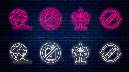 Set line No canister for gasoline, Plant in hand of environmental protection, Earth globe and plant and Battery with recycle symbol line. Glowing neon icon on brick wall. Vector Ilustrace