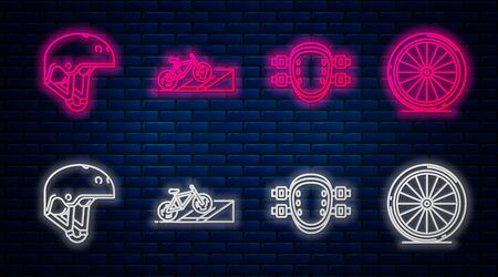 Set line Bicycle on street ramp, Knee pads, Helmet and Bicycle wheel. Glowing neon icon on brick wall. Vector Illustration