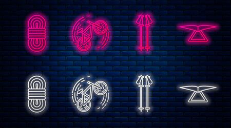 Set line Bicycle trick, Ski poles, Climber rope and Hang glider. Glowing neon icon on brick wall. Vector