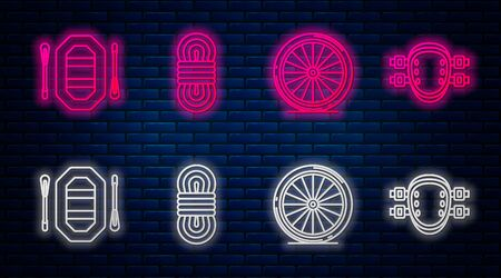Set line Climber rope, Bicycle wheel, Rafting boat and Knee pads. Glowing neon icon on brick wall. Vector