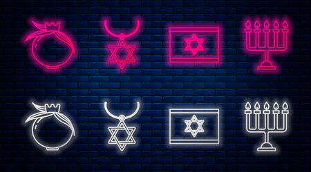 Set line Star of David necklace on chain, Flag of Israel, Pomegranate and Hanukkah menorah. Glowing neon icon on brick wall. Vector