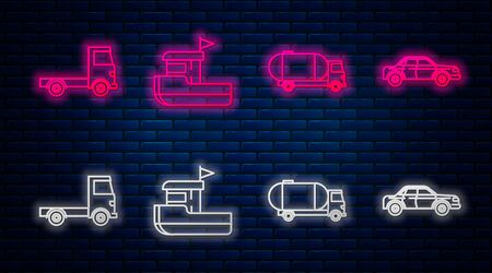 Set line Fishing boat, Tanker truck, Delivery cargo truck vehicle and Sedan car. Glowing neon icon on brick wall. Vector