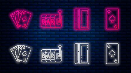 Set line Slot machine, Deck of playing cards, Playing cards and Playing card with spades symbol. Glowing neon icon on brick wall. Vector