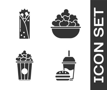 Set Paper glass with drinking straw and burger, Doner kebab, Popcorn in cardboard box and Popcorn in bowl icon. Vector Stock Illustratie