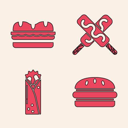Set Burger, Sandwich, Ice cream and Doner kebab icon. Vector