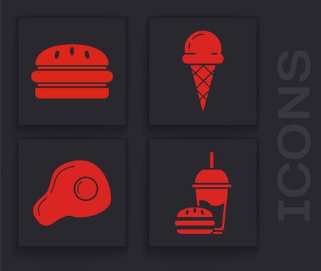 Set Paper glass with drinking straw and burger, Burger, Ice cream in waffle cone and Scrambled eggs icon. Vector