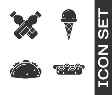 Set Hotdog sandwich with mustard, Crossed bottle of water, Taco with tortilla and Ice cream in waffle cone icon. Vector