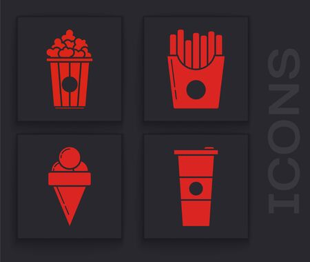 Set Paper glass and water, Popcorn in cardboard box, Potatoes french fries in carton package box and Ice cream in waffle cone icon. Vector