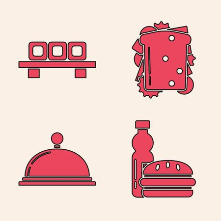 Set Bottle of water and burger, Sushi on cutting board, Sandwich and Covered with a tray of food icon. Vector Banque d'images - 137117721