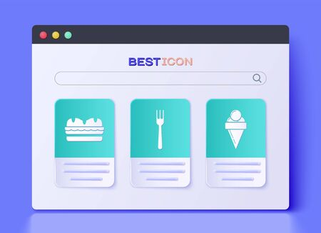 Set Fork, Sandwich and Ice cream in waffle cone icon. Vector