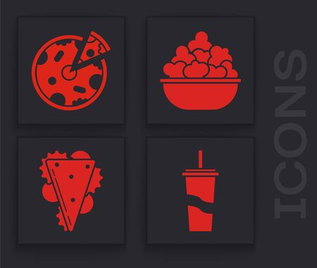 Set Paper glass with drinking straw and water, Pizza, Popcorn in bowl and Sandwich icon. Vector