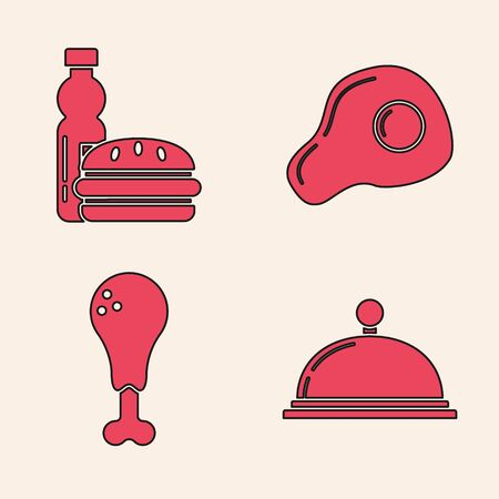 Set Covered with a tray of food, Bottle of water and burger, Scrambled eggs and Chicken leg icon. Vector