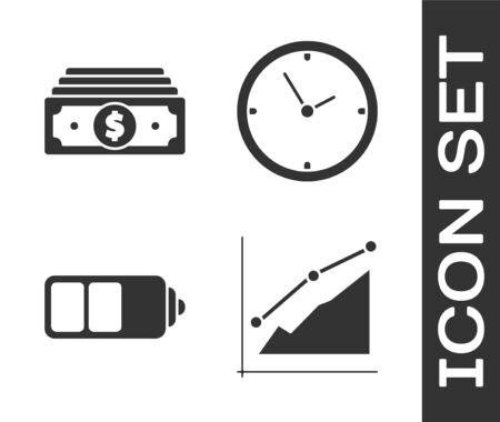 Establecer infografía de gráfico circular, pilas de billetes en efectivo, indicador de nivel de carga de la batería e icono de reloj. Vector